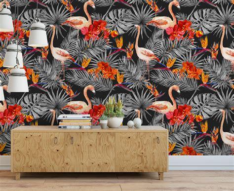 black flamingos wall decor moonwallstickers