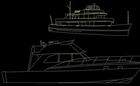 ship dwg yacht recreational boat watercraft vehicle side view and