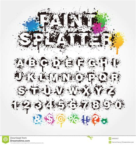 free abc painting paint splatter alphabet stock vector illustration of