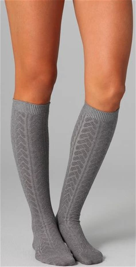 knee high knit socks falke striggings cable knit knee high socks in gray grey