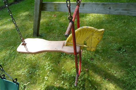 antique glider swing j e burke vintage horse glider swing set ride cast