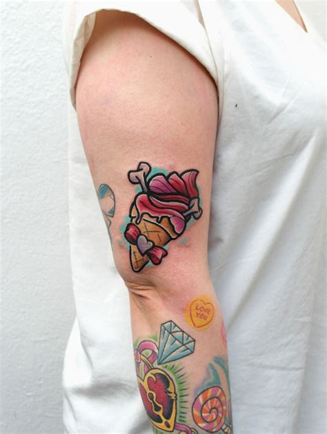 New School Ice Cream Tattoo | new school ice cream tattoo on right half sleeve for girls