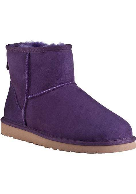 purple ugg boots ugg classic mini boot purple violet suede in purple lyst