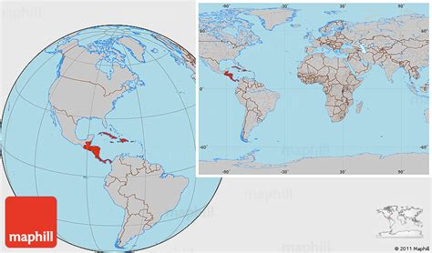 the entire world gray location map of central america within the entire world
