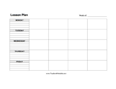 printable lesson plan template for teachers sle lesson plan outline new calendar template site