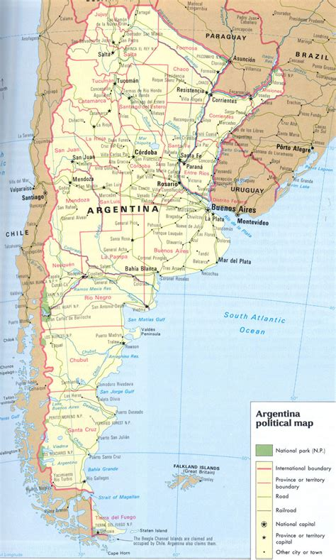 argentina political map large detailed political and road map of argentina