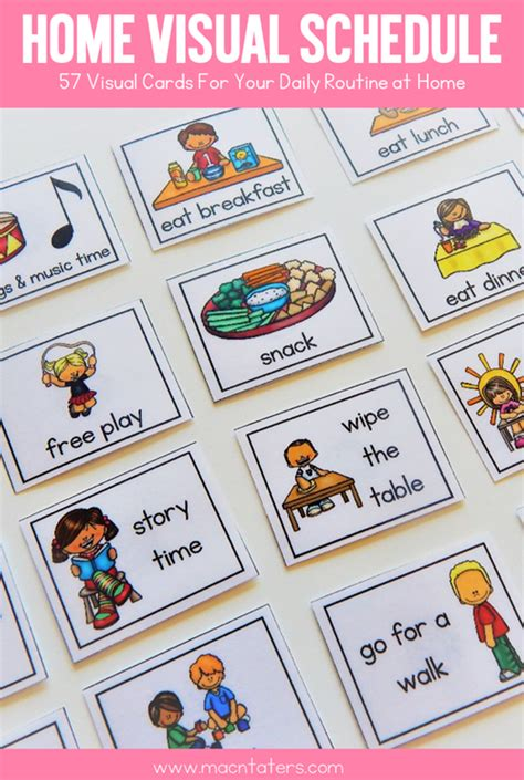 printable daily schedule for autistic child home visual schedule cards visual schedules routine and