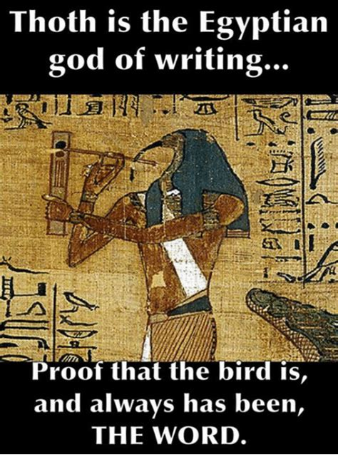 Egyptian Memes - thoth is the egyptian good of writing proof that the bird