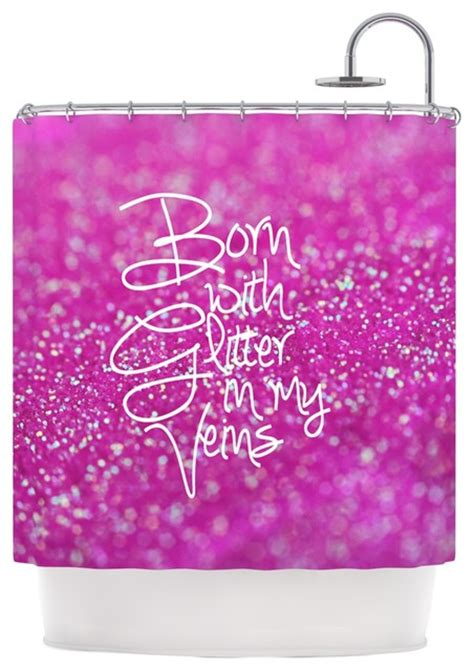 Pink Glitter Bathroom Accessories Beth Engel Quot Born With Glitter Quot Pink Sparkle Shower Curtain Contemporary Shower Curtains By