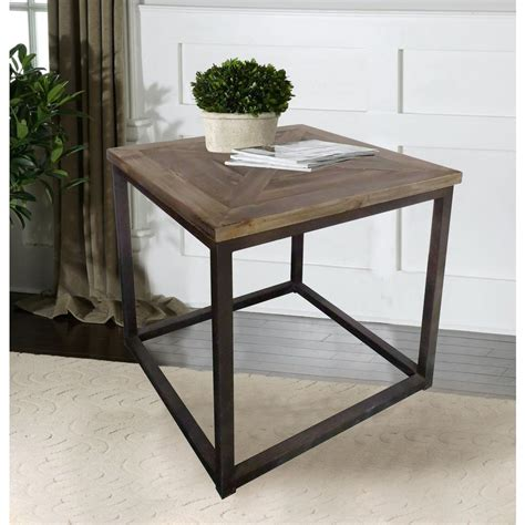 lux home industrial reclaimed wood square end table dmt 088 the home depot