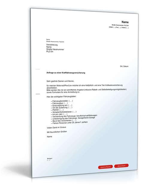Angebot Nachfassen Musterbrief Englisch anfrage angebot autoversicherung muster vorlage zum