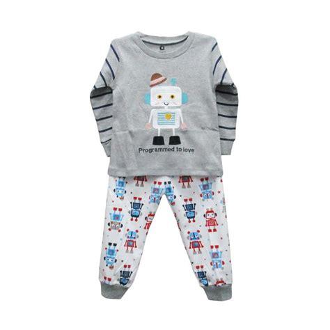 Baju Tidur Anak Laki Laki Size Besar Motif Kartun jual gracie motif robot 03 setelan baju tidur bayi laki laki grey harga kualitas