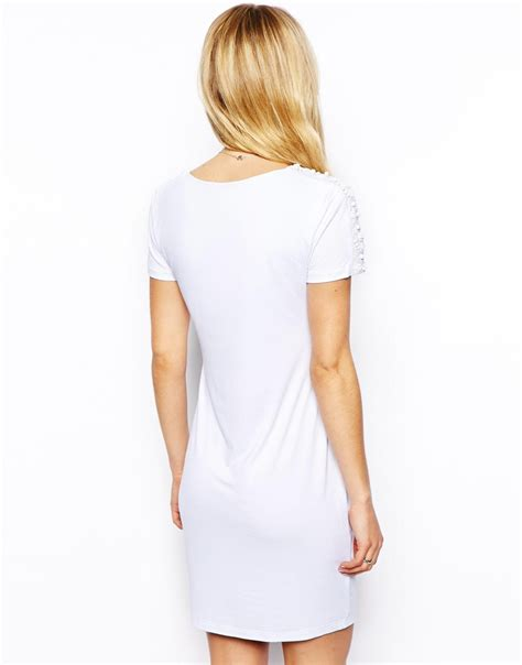 Embellished Sleeve Shirt asos embellished sleeve t shirt bodycon dress in white lyst