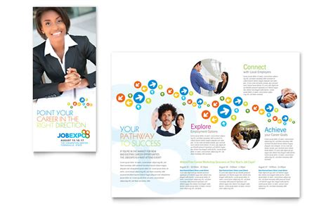 career flyer template expo career fair tri fold brochure template word