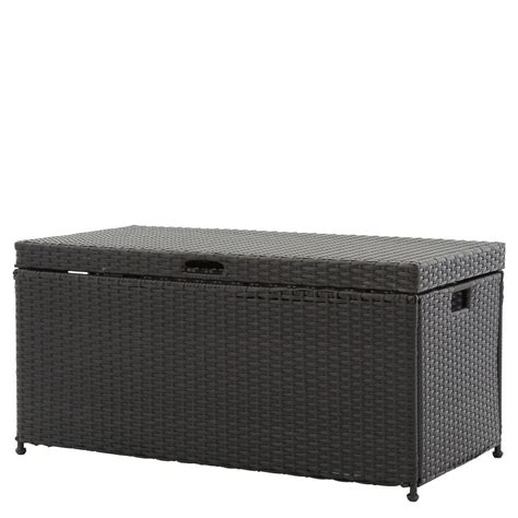 patio box home depot jeco black wicker patio furniture storage deck box ori003 d the home depot
