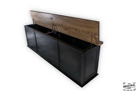 industrial storage bench steel storage bench solid walnut top real industrial