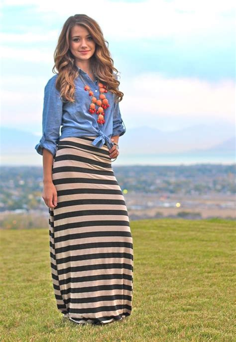striped maxi skirts comfy for fall