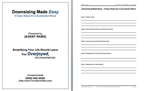 participant workbook template downsizing made easy presentation system
