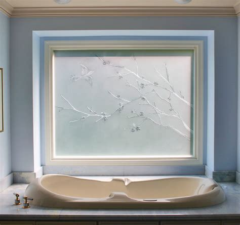 frosted glass windows for bathrooms carved and etched glass window