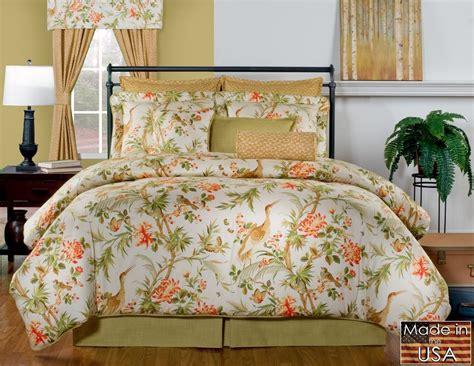 St Lucia Green Orange Beige Floral Tropical Birds Bedding