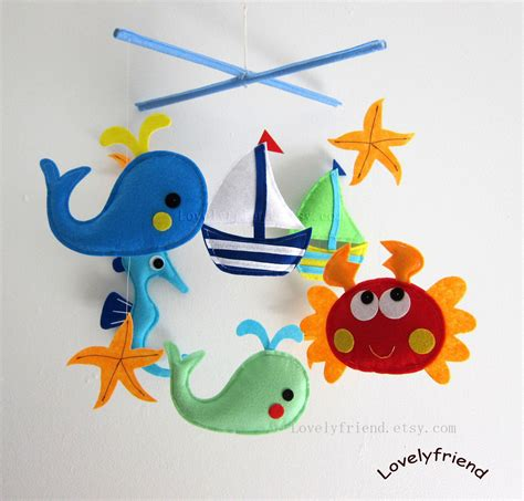 Handmade Crib Mobile - baby mobile crab crib mobile handmade nursery mobile