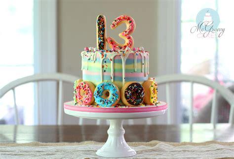 striped buttercream drippy doughnuts cake mcgreevy cakes