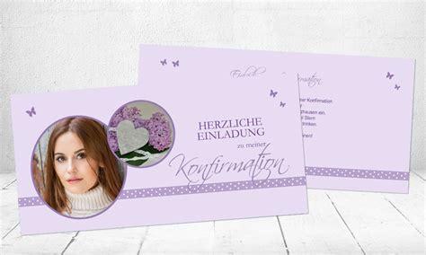 Einladungskarten Hochzeit Flieder by Einladungskarte Konfirmation Quot Flieder Quot