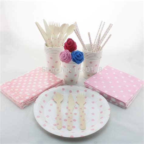 Baby Shower Tableware by Pink Polka Dot Tableware Set Wedding Baby Shower Decor