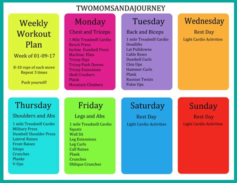 weekly workout plan two and a journey our adventures in children