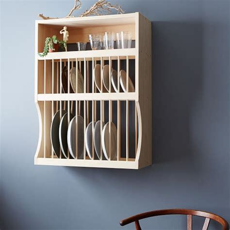 wooden plate rack shelf