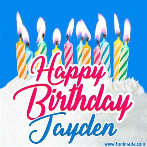 happy birthday gif  jayden  birthday cake  lit candles   funimadacom