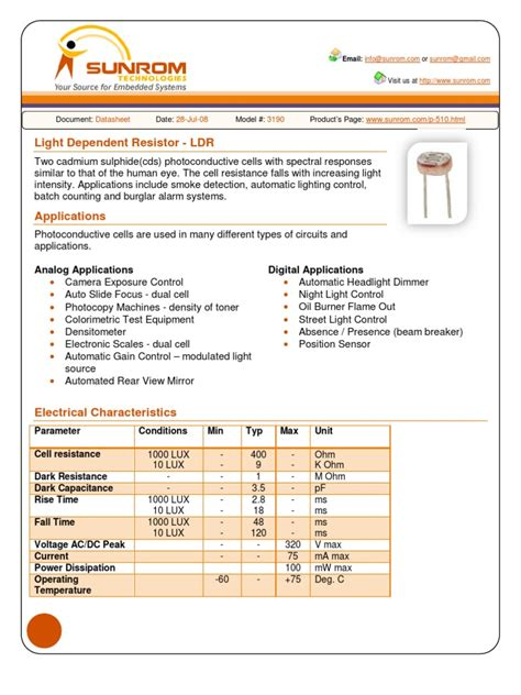 a103g resistor datasheet pdf ldr datasheet light electrical resistance and conductance