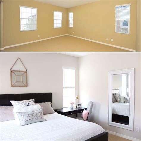 1111 Light Gray master bedroom refresh upholstered headboard update