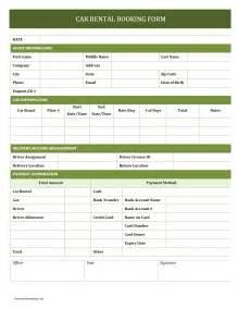 Car Rental Registration Form Car Rental Booking Form Freewordtemplates Net