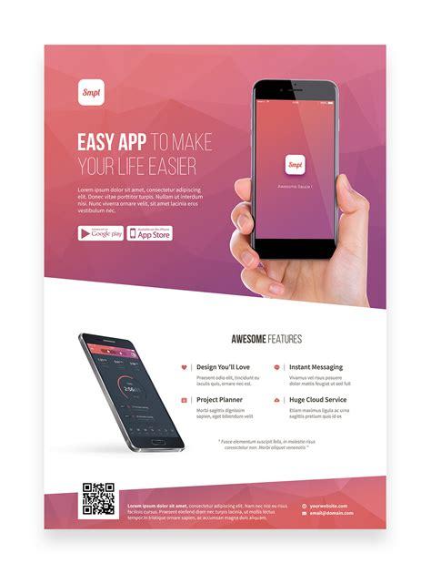 design leaflet app mobile app promotion flyer template on pantone canvas gallery