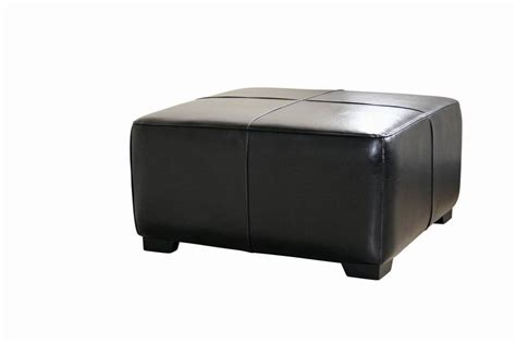 Belmont Black Leather Large Square Cocktail Ottoman With Square Leather Cocktail Ottoman