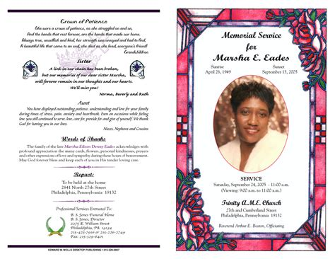 templates for obituary programs 9 best images of sle obituary funeral program templates