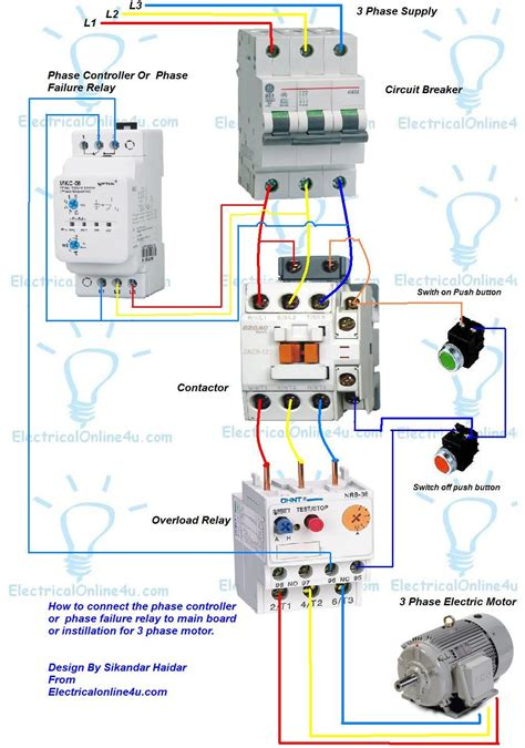 phase controller wiring phase failure relay diagram