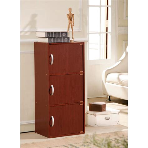 Hodedah 3 Shelf 36 In H Mahogany Bookcase With Doors 3 Shelf Bookcase With Doors