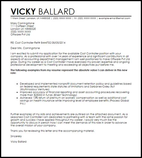 Cost Controller Cover Letter Sample   LiveCareer