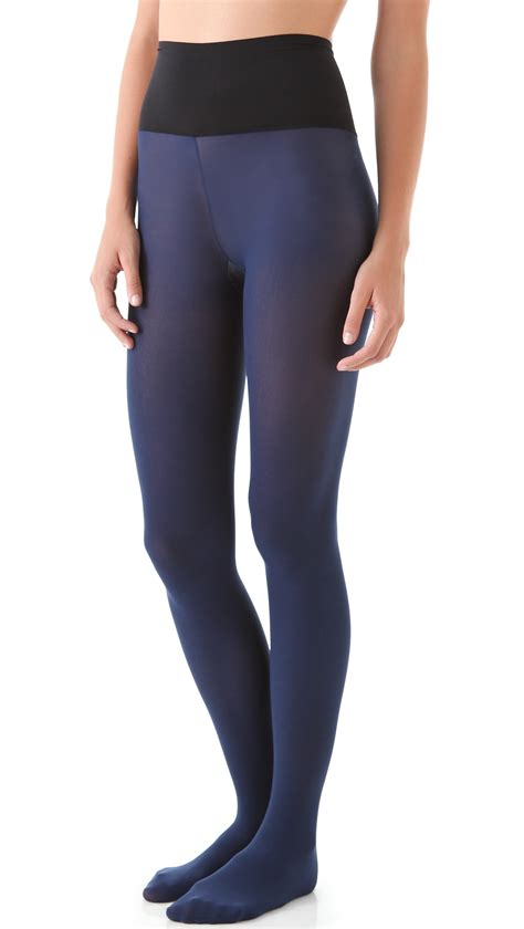 light grey opaque tights commando matte opaque tights grey in blue lyst