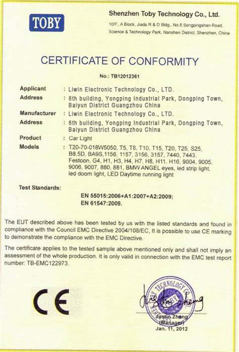 ce certificate of conformity template led light bar ce certificate of conformity certificate