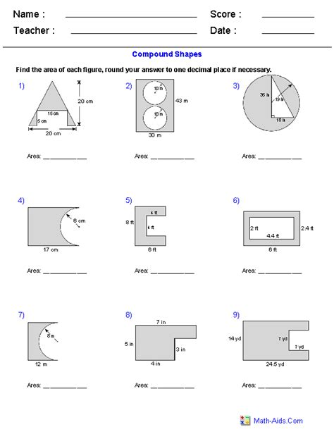 Area Compound Shapes Worksheet Answers by Geometry Worksheets Area And Perimeter Worksheets