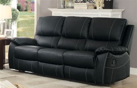Homelegance Greeley Top Grain Black Leather Double Black Reclining Leather Sofa