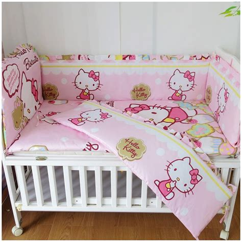 cheap crib bedding sets with bumpers discount 6 7pcs hello kitty crib cot quilt cover bumpers