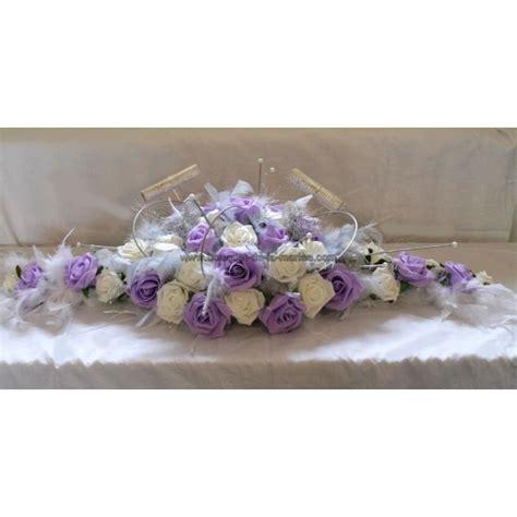 d 233 coration table de mariage plumes blanc parme et gris