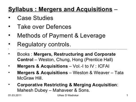 Mba In Mergers And Acquisitions In India by Mergers Acquisitions For Mba