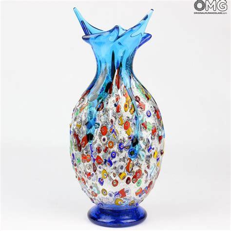 murano glass vase gabbiano light blue vase murano glass millefiori
