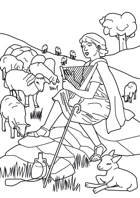 david the shepherd boy coloring pages