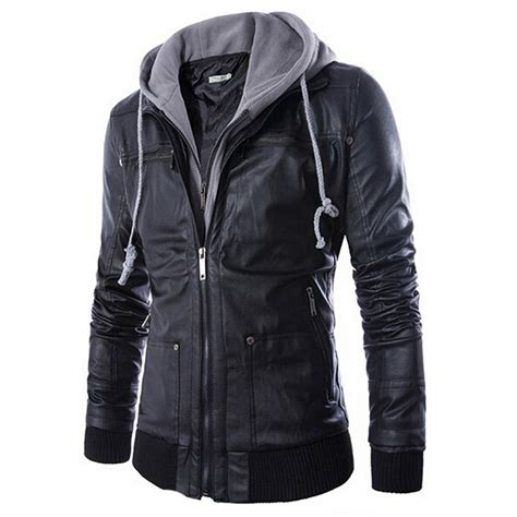 hooded leather jacket mens 2015 new brand leather jacket mens hooded leather jacket with fur leather jacket zipper